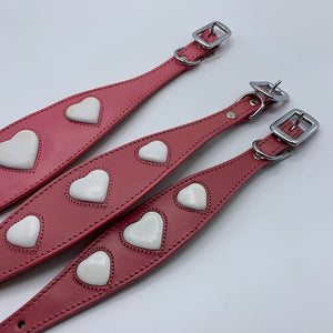 italian greyhound, whippet, greyhound, lurcher, saluki collar in pink with embossed white hearts