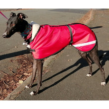 Load image into Gallery viewer, waterproof dog coat in red. greyhound jacket for all weathers. fleece lined and wind proof