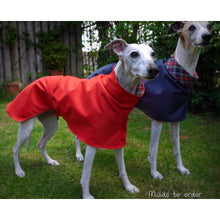 Load image into Gallery viewer, cotton lined greyhound and whippet coats for summer or warm wet weather uk