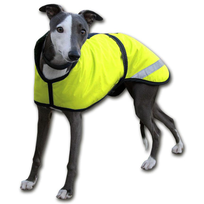 whippet coat with reflective waterproof shell and high visibility strips for safety