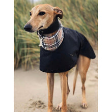 Load image into Gallery viewer, best whippet coats for winter weather. Black with cream tartan/check collar
