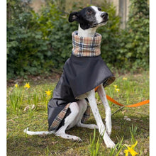 Load image into Gallery viewer, High collar winter whippet coat. Waterproof. Choice of colours and fleece linings. with or without harness hole