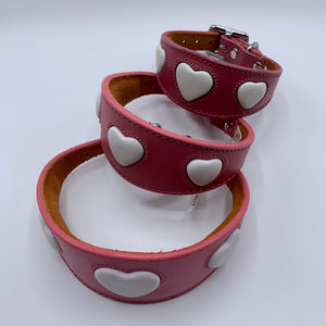 stunning whippet greyhound iggy collar in pink leater with white embossed heart design