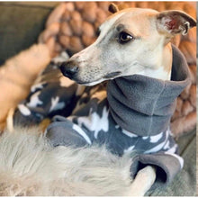 Load image into Gallery viewer, whippets and greyhound fleece coat onesiie pyjamas. Available in grey and pink with rabbit design