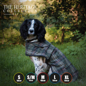 dog coat with herringbone design, dog coat with harness hole, leg straps and country feel. trendy dogs