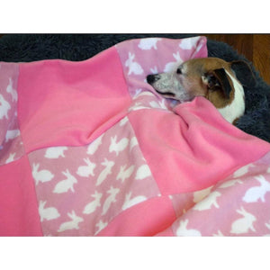 Pink rabbit design double fleece luxury pet throw matching our dog coats material