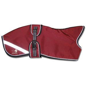 wine maroon oxblood whippet coat with reflective