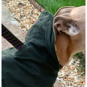 close up view of the hole in this green barbour hunter waxed greyhound dog coat jacket