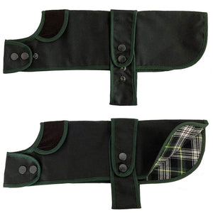 dachshund waxed dog coat with corded collar and cotton tartan lining