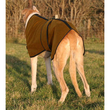 Load image into Gallery viewer, Wax greyhound dog coat. Fleece lined for warmth, super tough wax fabric material. Back view