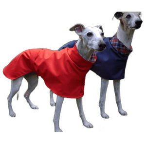 whippet and greyhound coat. Waterproof with high-collar snood. Cotton lined