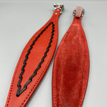 Load image into Gallery viewer, Red Oval-Stitched Leather Sighthound Collar