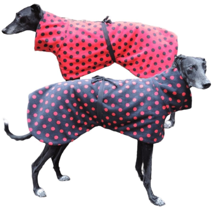 Reversible Polka Dot Sighthound Fleece House Coat Red/Black
