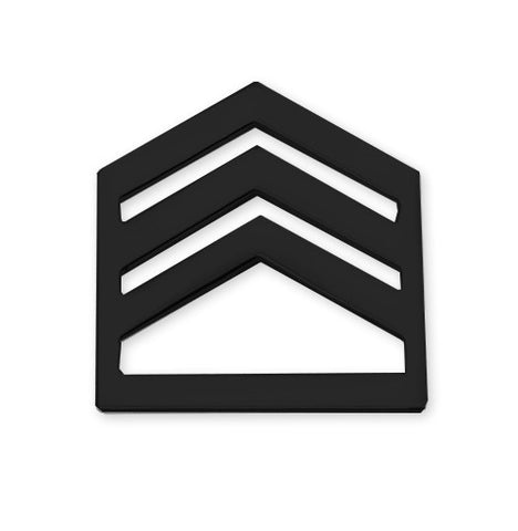 E6 ROTC Staff Sergeant Black Metal Rank Pin-on - Insignia Depot