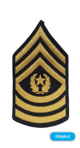E9 Command Sergeant Major Gold on Blue Sew-on - Small-Female - Insignia Depot