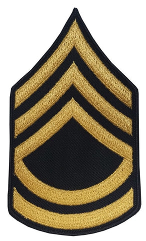 E7 Sergeant First Class Gold on Blue Sew-on - Large-Male - Insignia Depot