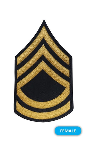 E7 Sergeant First Class Gold on Blue Sew-on - Small-Female - Insignia Depot