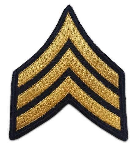 E5 Sergeant Gold on Blue Sew-on - Large-Male - Insignia Depot