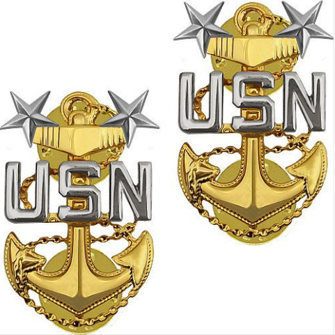 USN E9  Chief Petty Officer Brite Pin-on - Insignia Depot
