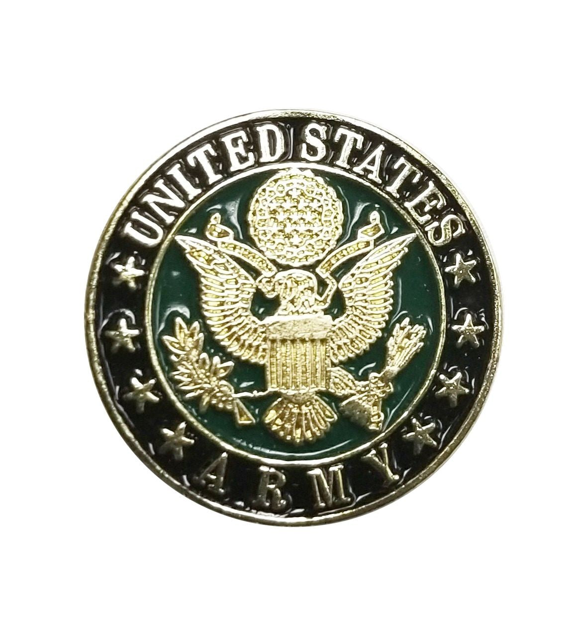 7-8 Inch Black Green and Gold Army Logo Pin - Insignia Depot