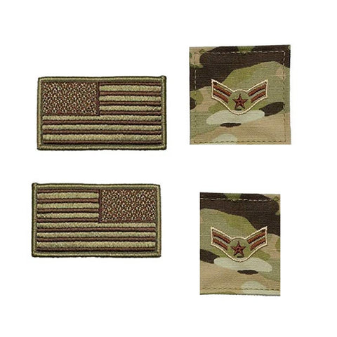 US Air Force Airman First Class Rank and Reverse OCP Spice Brown Flag Bundle  - Insignia Depot