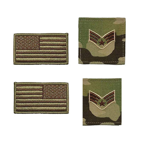 US Air Force Senior Airman Rank and Reverse OCP Spice Brown Flag Bundle  - Insignia Depot