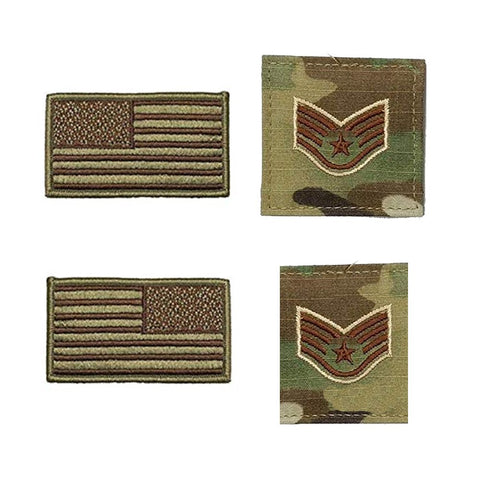 US Air Force Staff Sergeant Rank and Reverse OCP Spice Brown Flag Bundle  - Insignia Depot