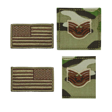 US Air Force Technical Sergeant Rank and Reverse OCP Spice Brown Flag Bundle  - Insignia Depot
