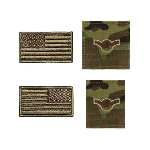 US Air Force Airman Rank and Reverse OCP Spice Brown Flag Bundle  - Insignia Depot