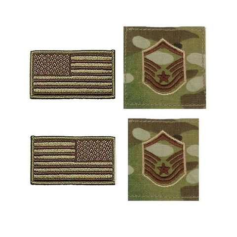 US Air Force Master Sergeant Rank and Reverse OCP Spice Brown Flag Bundle  - Insignia Depot