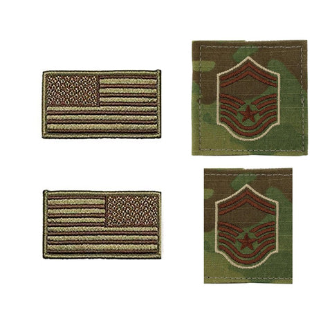 US Air Force Senior Master Sergeant Rank and Reverse OCP Spice Brown Flag Bundle  - Insignia Depot