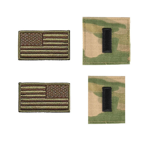 US Air Force 1st Lieutenant Rank and Reverse OCP Spice Brown Flag Bundle  - Insignia Depot