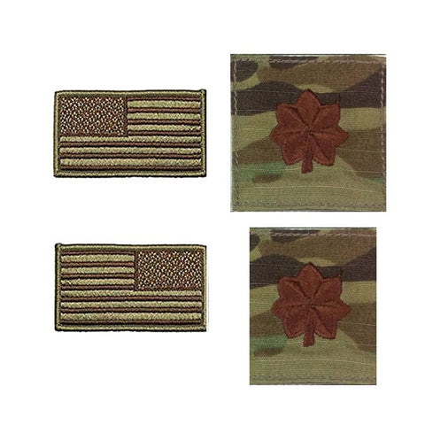 US Air Force Major Rank and Reverse OCP Spice Brown Flag Bundle  - Insignia Depot