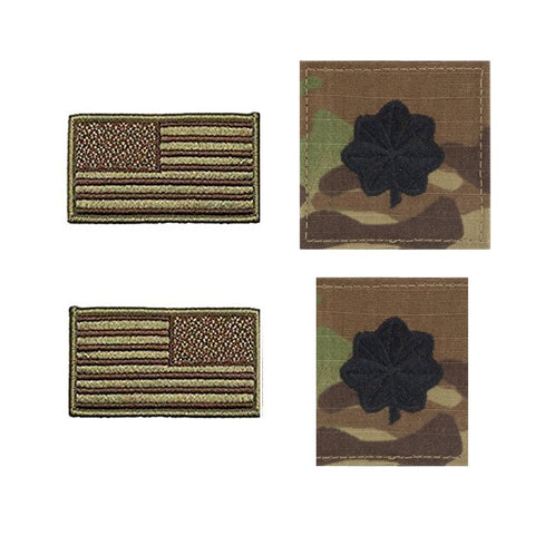 US Air Force Lieutenant Colonel Rank and Reverse OCP Spice Brown Flag Bundle  - Insignia Depot