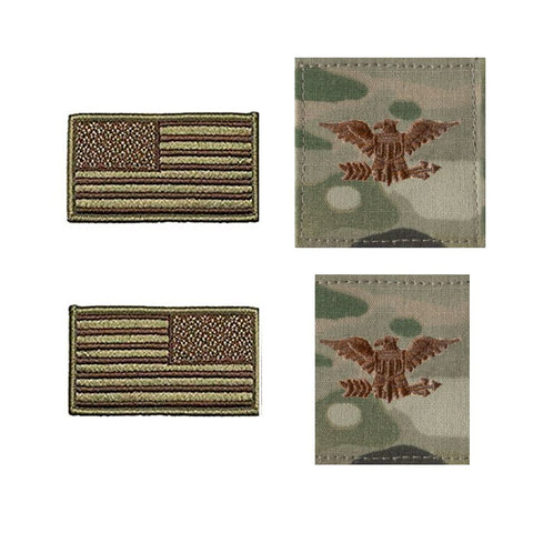 US Air Force Colonel Rank and Reverse OCP Spice Brown Flag Bundle  - Insignia Depot