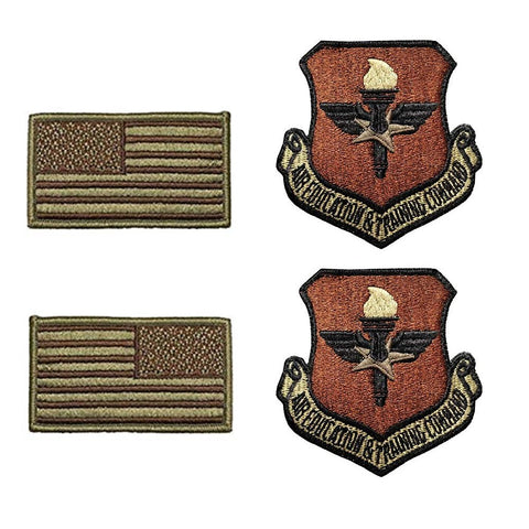 US Air Force Air Education and Training Command OCP Spice Brown Patch and Flag Bundle - Insignia Depot
