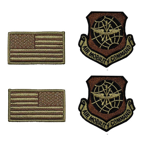US Air Force Air Mobility Command OCP Spice Brown Patch and Flag Bundle - Insignia Depot