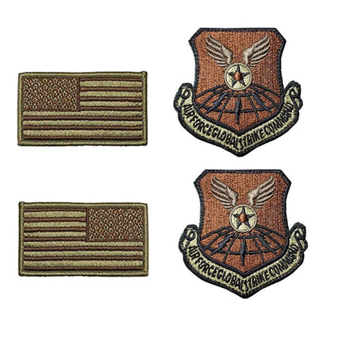 US Air Force Global Strike Command OCP Spice Brown Patch and Flag Bundle - Insignia Depot