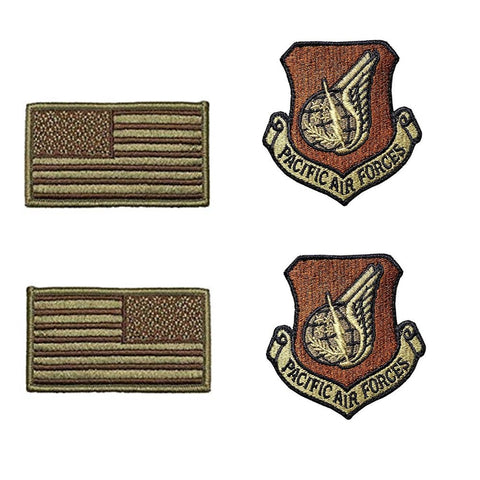 US Air Force Pacific Air Forces OCP Spice Brown Patch and Flag Bundle - Insignia Depot
