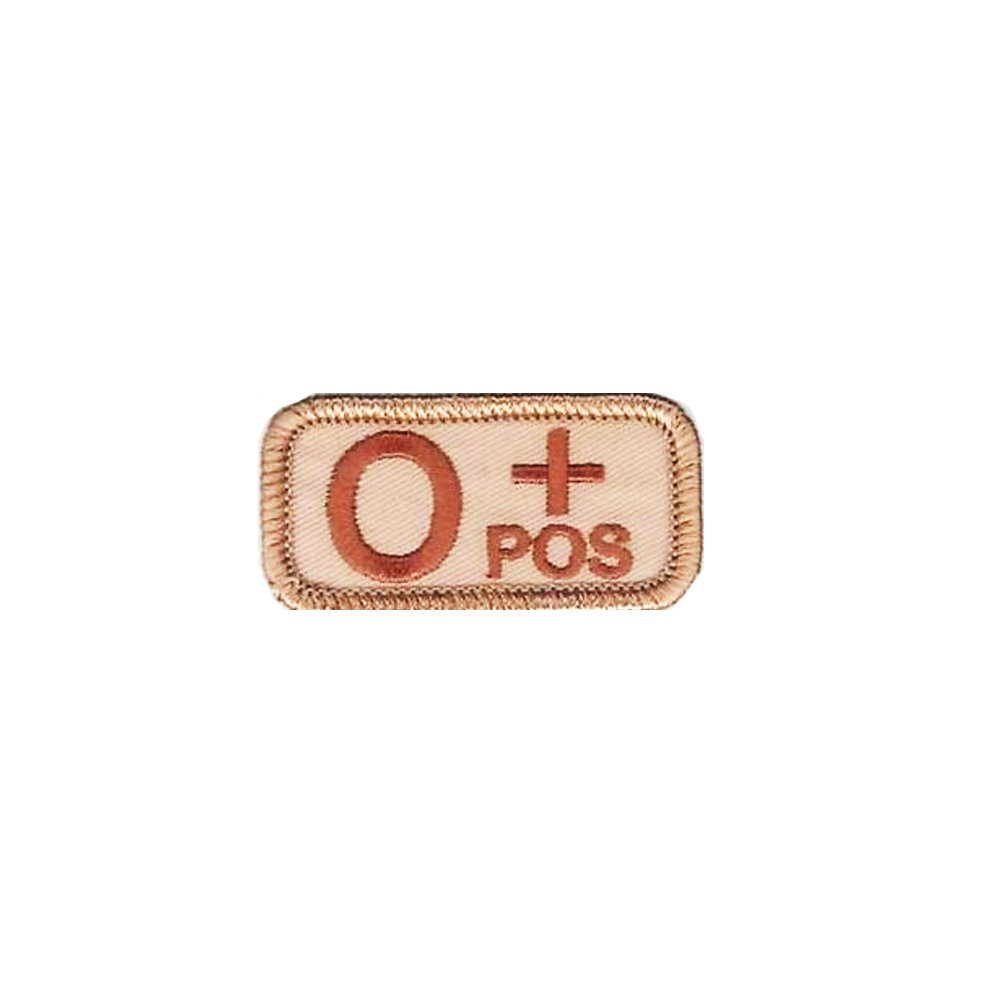 O+ Blood Type Desert Patch with Hook Fastener - Insignia Depot