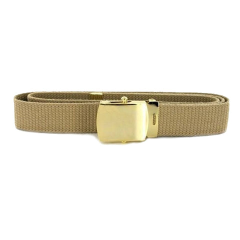 Khaki Belt with Brite Buckle and Tip - Insignia Depot