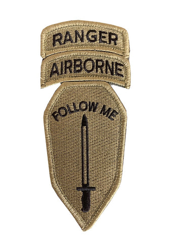 "Infantry School ""Follow Me"" With Airborne and Ranger Tabs OCP Patch with Hook Fastener (Each) - Insignia Depot"
