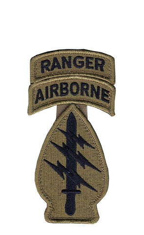 Special Forces OCP Patch with Ranger, Airborne Tabs (no space) and Hook Fastener (pair) - Insignia Depot