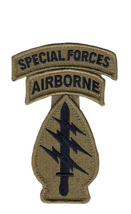Special Forces OCP Patch with Special Forces, Airborne Tabs (no space) and Hook Fastener (pair) - Insignia Depot