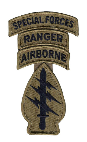Special Forces OCP Patch with Special Forces, Airborne, Ranger Tabs (no space) and Hook Fastener (pair) - Insignia Depot