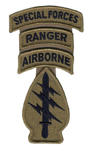 Special Forces OCP Patch with Special Forces, Airborne, Ranger Tabs and Hook Fastener (pair) - Insignia Depot