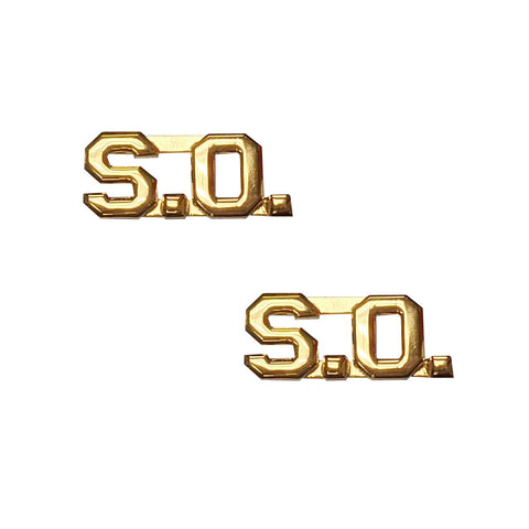 "Police SO Letters Pin 3-8"" Gold Pair - Insignia Depot"