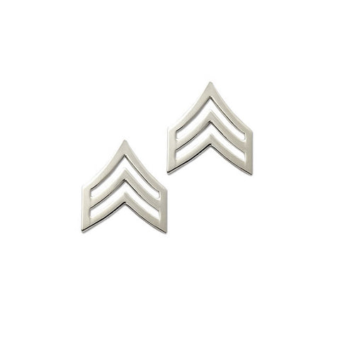 "Police Sergeant Nickel Rank Pin Tall 15-16"" Pair - Insignia Depot"