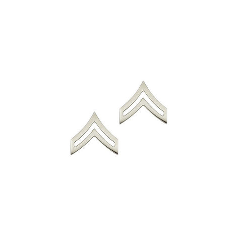 "Police Corporal Nickel Rank Pin Tall 13-16"" Pair - Insignia Depot"