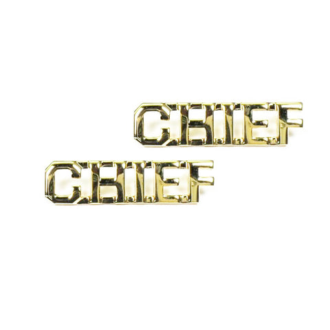 "Police CHIEF Letters Pin 3-8"" Gold Pair - Insignia Depot"